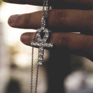diamond cz cubic zirconia ankh pendant silver gold necklace