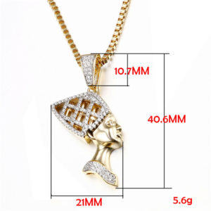 Queen Nefertiti Necklace gold cz diamond cut