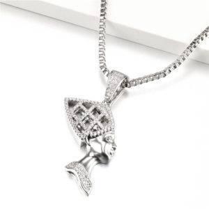 Queen Nefertiti Necklace silver cz diamond cut