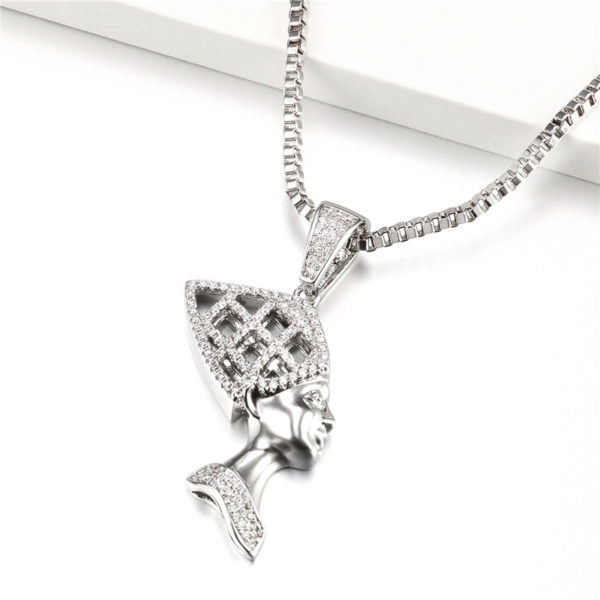Queen Nefertiti Necklace silver cz diamond cut