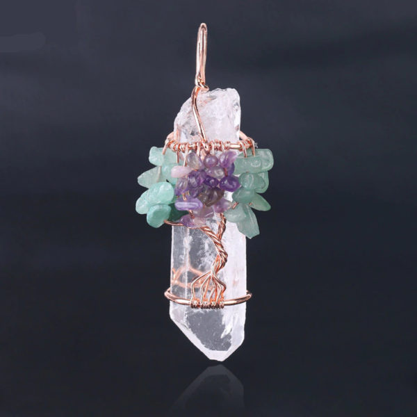 Copper Wire Wrapped Crystal Tree of Life Chakra Pendant