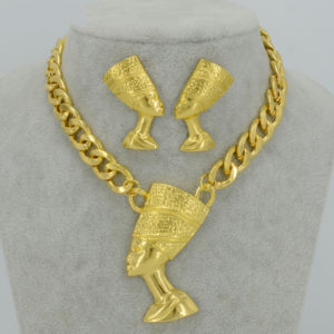 Queen Nefertiti Big Chain and Earrings Sets