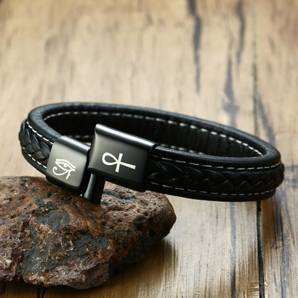 Eye of Horus Ankh Genuine Leather Bracelet