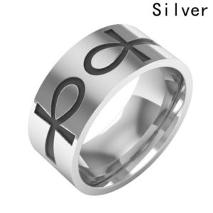 Double Engraved Silver Ankhs Ring